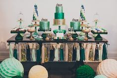 Festive and bright vintage dessert display at The Cream event with Found Vintage Rentals.