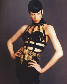 "glamandvanity:  "" Kristen McMenamy in 'Black Is Back'  Photographer: Steven Meisel  Clothes: Gianni Versace S/S 1992  Vogue Italia July 1992  """