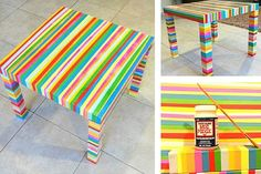 Make a colorful tape table