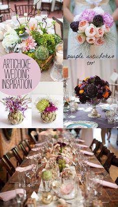 artichoke decor and details wedding inspirations, including purple artichokes!!!