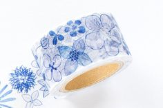 Items similar to Japanese Washi Masking Tape - Little Path / Chamil Garden Blue Flowers on Etsy Masking Tape, Washi Tape, Craft Materials, Mixed Media Art, Blue Flowers, Stationery, Japanese, Journal, Canvas