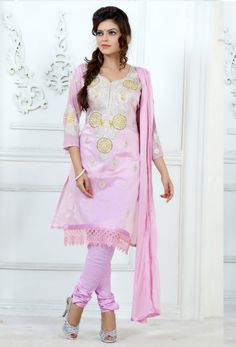 #Peach #Chnaderi #Cotton Straight #Suit With #Churidar #Salwar #nikvik  #usa #designer #australia #canada #freeshipping #suits