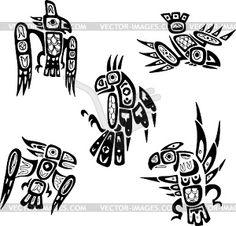 Местные индийские шошонов племенные рисунки. Птицы - изображение в векторе