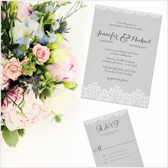 Gray and White Lace Elegant Wedding Invitation
