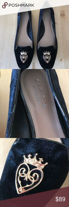 Kurt Geiger Carvela Black Velvet Shoes Black velvet flat shoes with Gold heart and crown adornment. Brand new condition, never worn out. I wore them once just to scuff the bottoms because they were slippy brand new and that's why the bottoms look as they do. No rips tears or wear as you can see from photos. Run a little narrow. These are a euro 40. Kurt Geiger Shoes Flats & Loafers