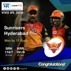 Congratulations!! SunRisers Hyderabad have stopped Kolkata Knight Riders at 161/9 to record 13-run win. They will meet Chennai Super Kings in the final #KKRvsSRH 👏👏🙌🙌🙂  Watch #VIVOIPL2018 #CSKvsSRH #VIVOIPL final match Sunday at 7 PM IST YuppTV   Available in Europe, Australia ,Singapore, South East Asia,Central & South America, Malaysia Chennai Super Kings, Sunrises, Kolkata, Hyderabad, Southeast Asia, South America, Singapore, Knight, Congratulations