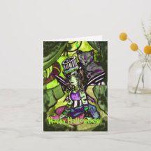Shop Circus of Shadows Happy Halloween Card created by fairychamber. Halloween Circus, Halloween Masquerade, Scary Halloween, Halloween Pumpkins, Happy Halloween, Halloween Greetings, Halloween Celebration, Blessed Samhain, Custom Greeting Cards