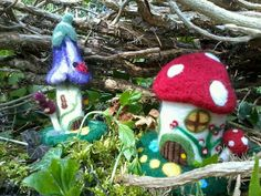 Needle Felted Fairy Houses! A Mushroom house and a Bluebell house.