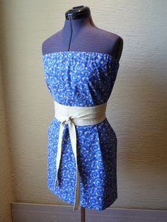 pillowcase dress, stars dress, handmade dress, Obi Style Belt, unique clothing, recycled pillowcase, Hippie Boho, spring summer, blue dress on Etsy, $27.00