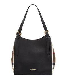 Leather Shoulder Tote Bag, Black