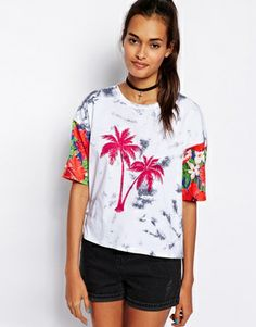 ASOS T-Shirt in Tie Dye with Palm Print