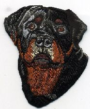 ROTTWEILER DOG HEAD FRONT EMBROIDERED IRON ON PATCH