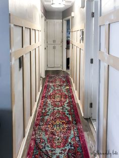 hallway decorating 506655026828928947 - Hallway Board and Batten Reveal Narrow Hallway Decorating, Hallway Ideas Entrance Narrow, Upstairs Hallway, Modern Hallway, Modern Staircase, Staircase Design, Makeover Before And After, Small Hallways, Budget