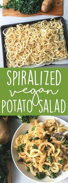 Make an impressive vegan side dish with a twist on classic potato salad! Break out your spiralizer and make this vegan spiralized potato salad with kale for your next cook out or BBQ! (Vegan Side Dish - Vegan BBQ Recipe) | karissasvegankitchen.com via @karissasvegankitchen