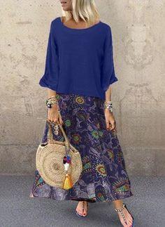 Women Leisure Loose Vintage Print Dress - Blue / L Floral Maxi Dress, Boho Dress, Bohemian Dresses, Summer Dresses Sale, Moda Hippie, Vacation Dresses, Look Fashion, Latest Fashion, Fashion Online