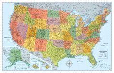 Huge United States, USA Classic Elite Wall Map Laminated Huge mega United States Wall Map Front-Sheet UV Coated Laminate for dry-erase + durability! Perfect USA Map for business, home or educational use Up-to-date and current United States wall map States And Capitals, United States Map, 50 States, Travel Maps, Travel Usa, Explorer Map, National Geographic Maps, North America Map, Wall Maps