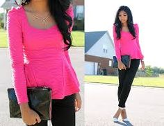 Image result for pink Peplum blouses