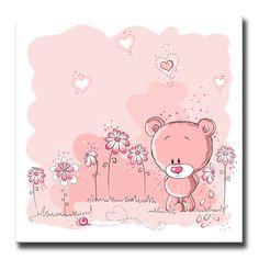 Cuadro Pink bear and snail