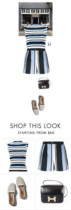 """""""Outfit of the Day"""" by wizmurphy ❤ liked on Polyvore featuring Dolce&Gabbana, Abercrombie & Fitch, Hermès, Erickson Beamon, blueandwhite, dolceandgabbana, ootd and highwaistedshorts"""