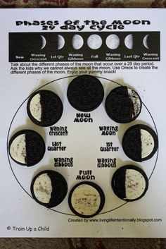 Oreo Cookies to Teach the Phases of the Moon! I love this idea! Learning this phases of the moon can be quite boring, but this would certainly keep the students attention! Although, they should not be allowed to eat ALL of their cookies!! ;) *Sarah Graf