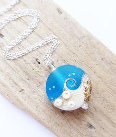 Aqua Blue Wave Lampwork Pendant Necklace, Ocean Jewelry, Beach, by JBMDesigns Etsy