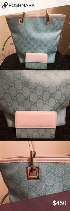 Authentic Gucci hand bag with matching wallet Light blue and white preowned but still in good condition has matching wallet 9.5x10.5x4 tote straps are 7 inches gorgeous set😄💝 Gucci Bags Totes