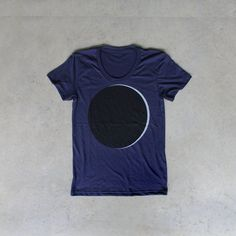 Umbraphilia - womens t shirt / ladies top - solar eclipse screenprint - black and white on navy blue - astronomy shirt for her