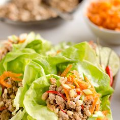 Turkey Thai Peanut Lettuce Wraps Recipe Lunch with sesame oil, lean ground turkey, thai chile, peanut sauce, carrots, green onions, peanuts, butter lettuce, cilantro