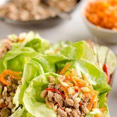 Turkey Thai Peanut Lettuce Wraps Recipe Lunch with sesame oil, lean ground turkey, thai chile, peanut sauce, carrots, green onions, peanuts, butter lettuce, cilantro