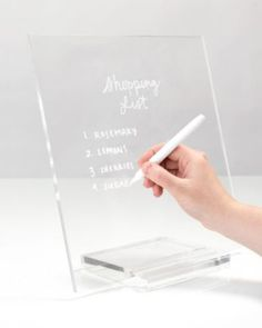 Both aesthetically inspiring and functional, our acrylic memo tablet + dry erase marker brings sleek sophistication to your office and home. - 1 two piece dry erase board + 1 white dry erase marker - 12 x 6 x inches - Base accommodates writing tool Home Office Design, Home Office Decor, Office Designs, Library Design, Work Desk Decor, Work Office Decorations, Decorating Office At Work, Wall Decor, Memo Boards