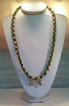 8 Warp Red, Green Gold, Green and Lime Green Rattail Satin Cord with Lime Green and White Lace Ribbon Square Kumihimo Braid Necklace with Gold Christmas Charms