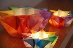 Paper luminaries- rainbow. Watercolor paper, paint, folding. Simple.