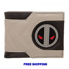 Marvel Gray Deadpool X-Force Mixed Material Metal Badge Boxed Bi-Fold Wallet NEW