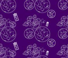 Gallifrey Police Box Purple fabric by costumewrangler on Spoonflower - custom fabric