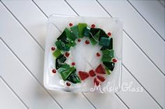 Christmas Wreath small glass anything dish by melsieglass on Etsy, $24.00