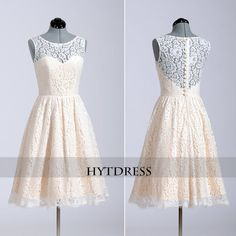 Short Champagne Lace Bridesmaid Dress Short dresses by hytdress, $95.00
