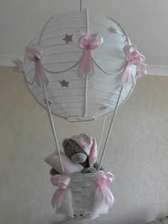 Hot Air Balloon Nursery light shade with Tatty Teddy/ Made T.- Hot Air Balloon Nursery light shade with Tatty Teddy/ Made To Order Hot Air Balloon Nursery light shade with Tatty Teddy/ Made Balloon Lights, Hot Air Balloon, Balloons, Tatty Teddy, Baby Shower Gifts, Baby Gifts, Nursery Lighting, Painting Lamp Shades, Ceiling Lamp Shades