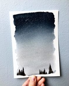 Watercolor Landscape Painting Night sky painting optional custom quote forest painting green color in sky - Green Things Watercolor Night Sky, Night Sky Painting, Forest Painting, Galaxy Painting, Watercolor Landscape Paintings, Watercolor Print, Watercolor Paintings Tumblr, Space Watercolor, Prima Watercolor