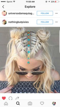 Two top braids with center head piece.