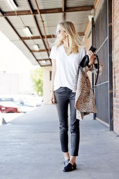 Spring outfit idea. White t shirt, leather pants, black flats and leopard.