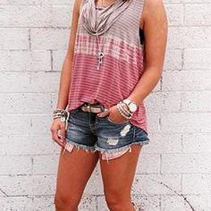 e5a011b4666d5 Gilded Intent Striped Tank Top - Women s Tank Tops in Taupe Brick Dust