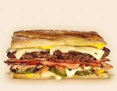 The Havana:  Wisconsin Swiss Cheeseburger Recipe.  Other ingredients:  ham, pickles, pressed French bread, beef patty, roasted pork shoulder and yellow mustard.   - Wisconsin Milk Marketing Board