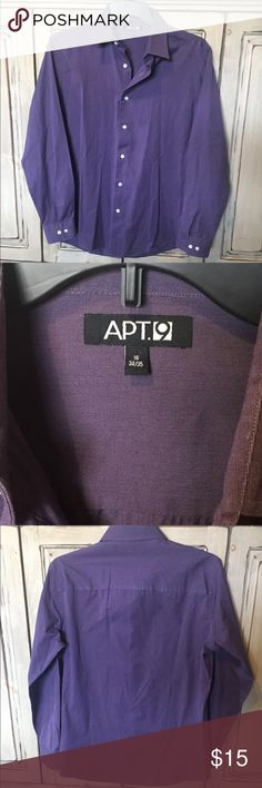 Apt. 9 Button Down Dress Shirt Purple Sz XL Great Used Condition!  Hard color to capture in a picture, I would say that the close up of the tag is a better representation of this purple. Apt. 9 Shirts Dress Shirts