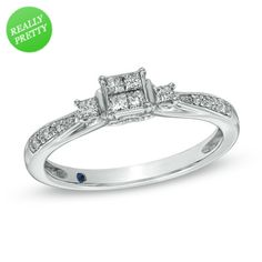 Zales: Cherished Promise Collection™ 1/4 CT. T.W. Princess-Cut Quad Diamond Promise Ring in 10K White Gold