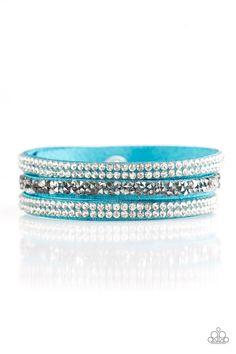 Mega Glam   $5 - No Tax #bracelet #uniquelyurban #blue #suede #rhinestones #yourblingboss
