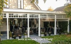 Unieke veranda in jaren 30 stijl?  Houtbouw Backyard, Patio, Pool Houses, Garden Inspiration, Porch, Pergola, Garage Doors, Art Deco, Outdoor Structures