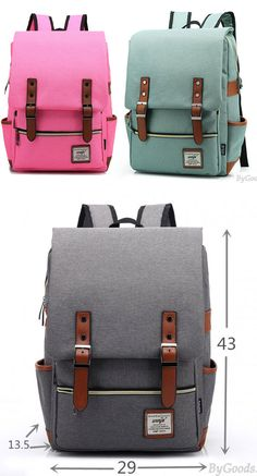 Which color do you like? Vintage Travel Backpack Leisure Canvas With Leather Backpack&Schoolbag for big sale.#backpack #college #bag #rucksack #women #school #student #canvas