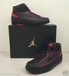 "NIKE AIR JORDAN 2 RETRO ""ALTERNATE 87"" Black / Varsity Red 834274 001 #Nike #AirJordan #Basketball #shoes #Sneakers #Forsale @ebay"