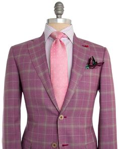 "Isaia Purple Plaid Sportcoat 2 button jacket Notch lapel Purple paisley melton Flap pocket Front left chest pocket Partially lined Double vent 100% wool 140s delain select Model: nuova base ""s"" Made in Italy"