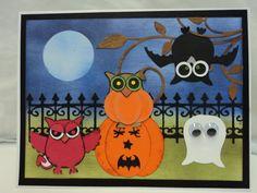Halloween card for nephew using owl punch, spellbinders die cut and sponging